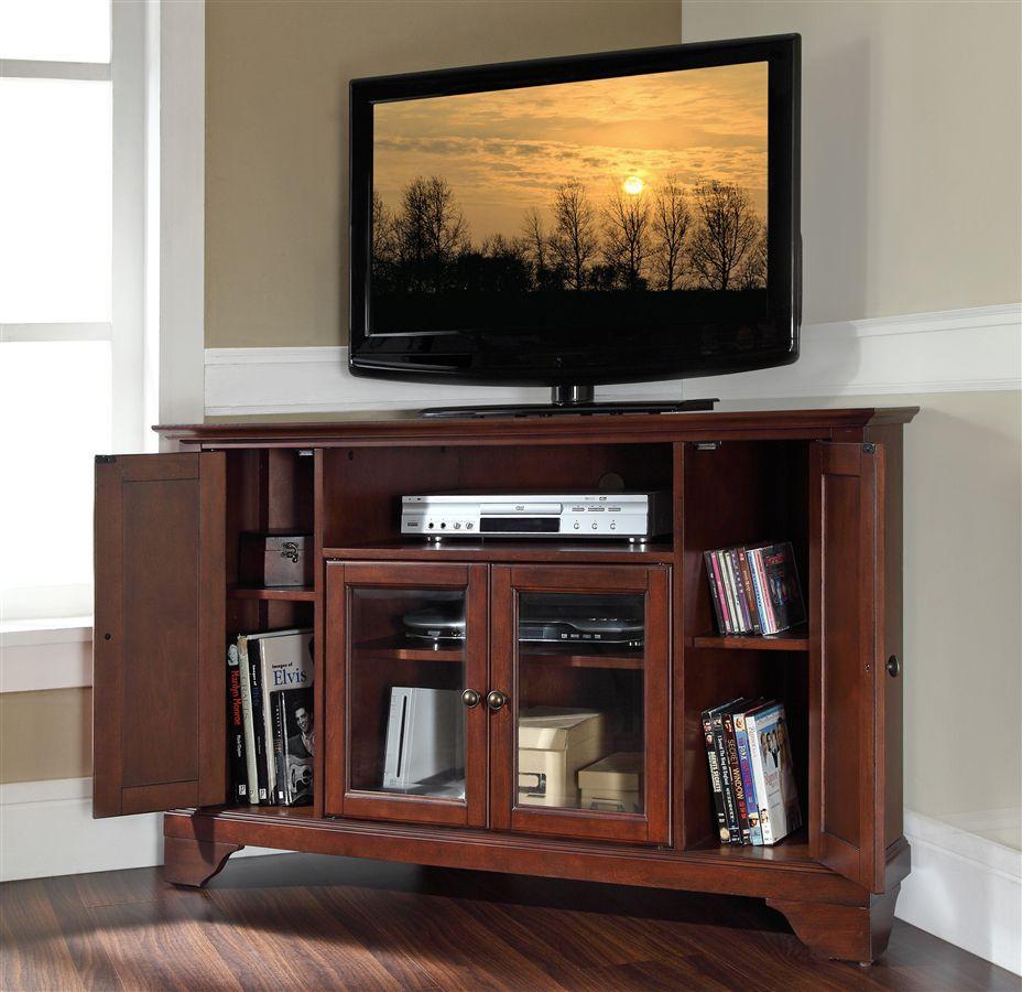 Crosley furniture lafayette in wood corner tv stand w bracket