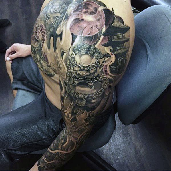 fu dog japanese temple mens full arm sleeve tattoo 599 599 bum tattoo. Black Bedroom Furniture Sets. Home Design Ideas