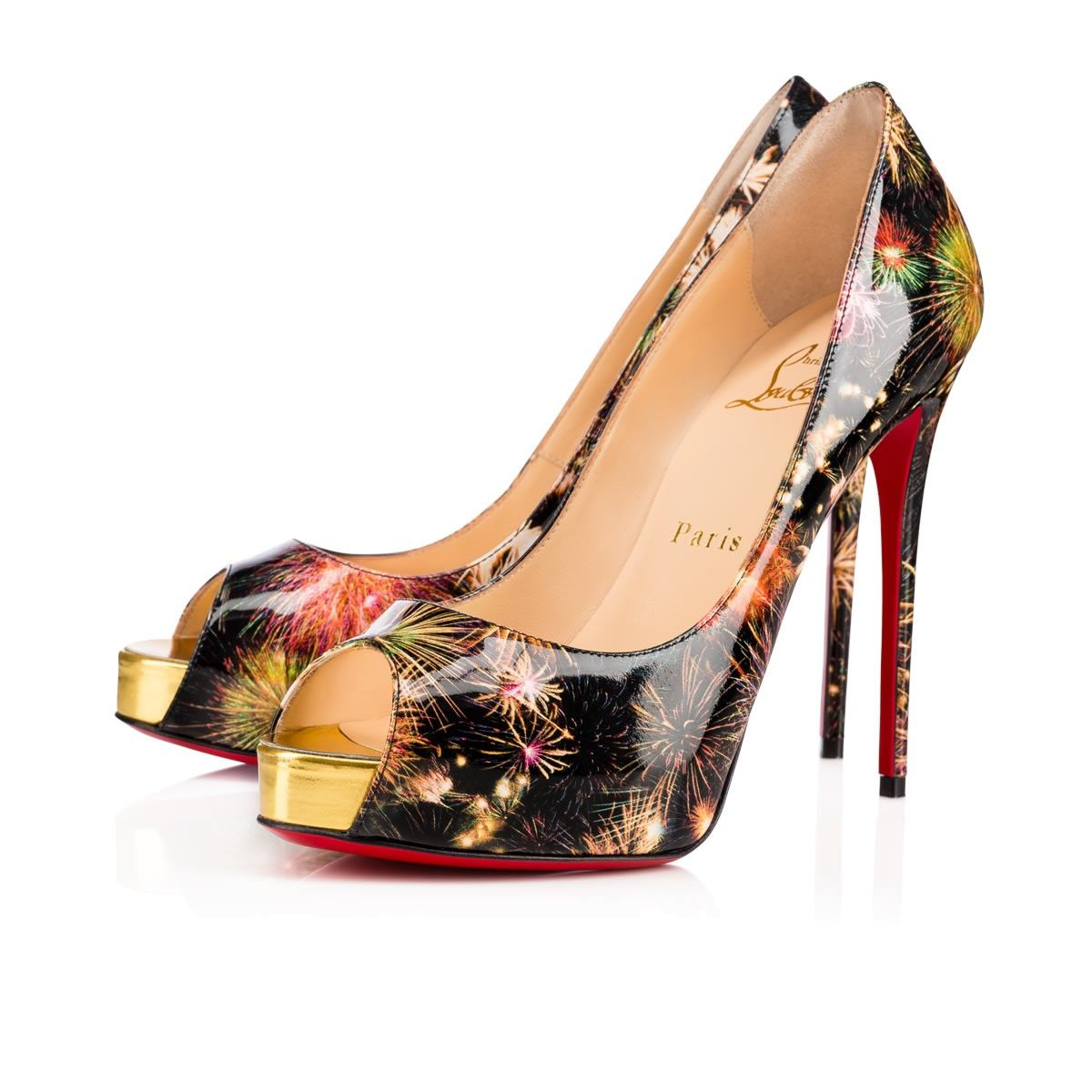 the best attitude b5dc6 d5592 CHRISTIAN LOUBOUTIN New Very Prive 120 Multi/Gold Patent ...