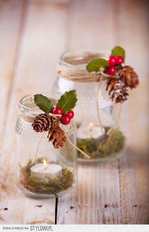 Riciclare i barattoli di vetro per decorare a natale 20 - Decorare candele per natale ...
