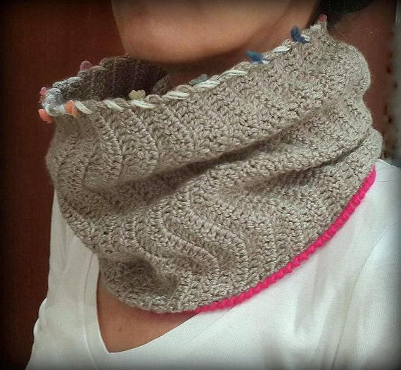 Crochet Cowl Neck Warmer Women's Clothing Winter Scarf by Dushle