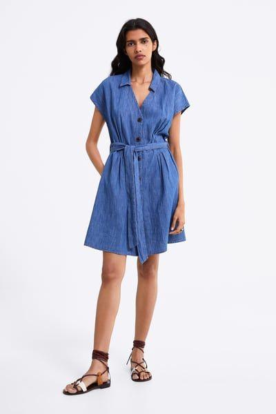 later sleek great prices ZARA - Female - Belted denim dress - Light blue - Xs in 2019 ...