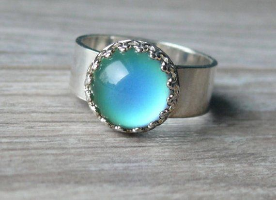 Fun Jewels Vintage Style Antique Silver Plating Brass Oval Stone Color Change Mood Ring Size Adjustable
