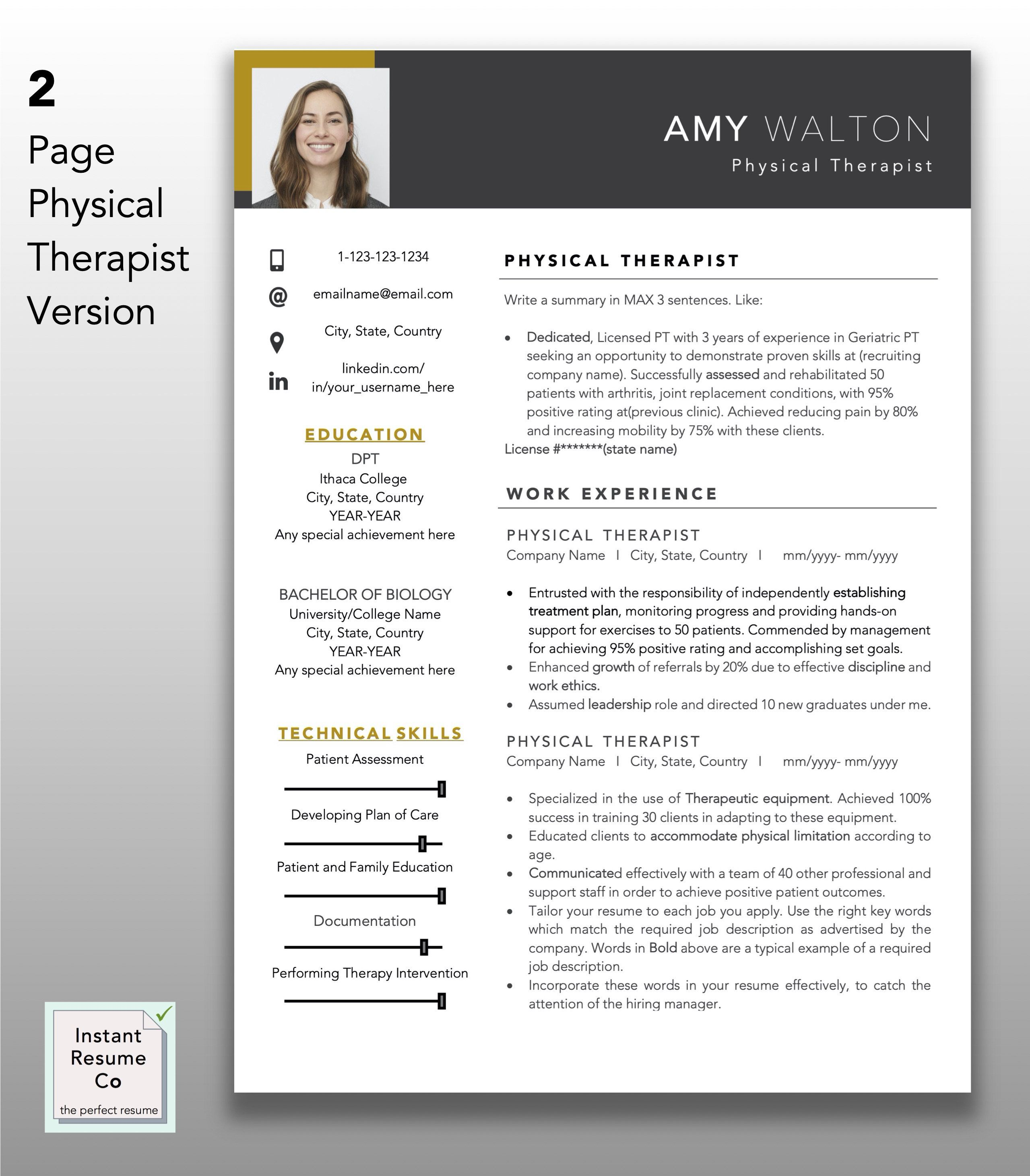 Physical Therapist Licensed Pt Professional Resume Template Etsy Resume Template Resume Templates Resume Examples