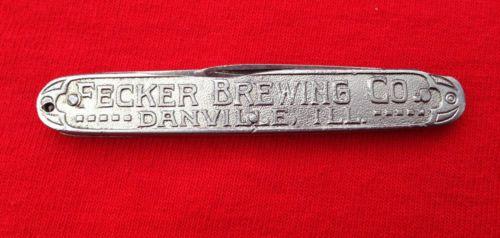 Antique Fecker Brewing Co Danville Ill Wiest Germany Pocket Knife Beer Souvenir