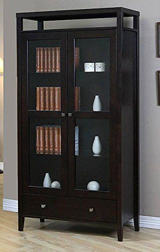 Aristo Modern Halifax Brown Solid Wood 2 Door Bookcase With Gl Tall Media Storage Cabinet
