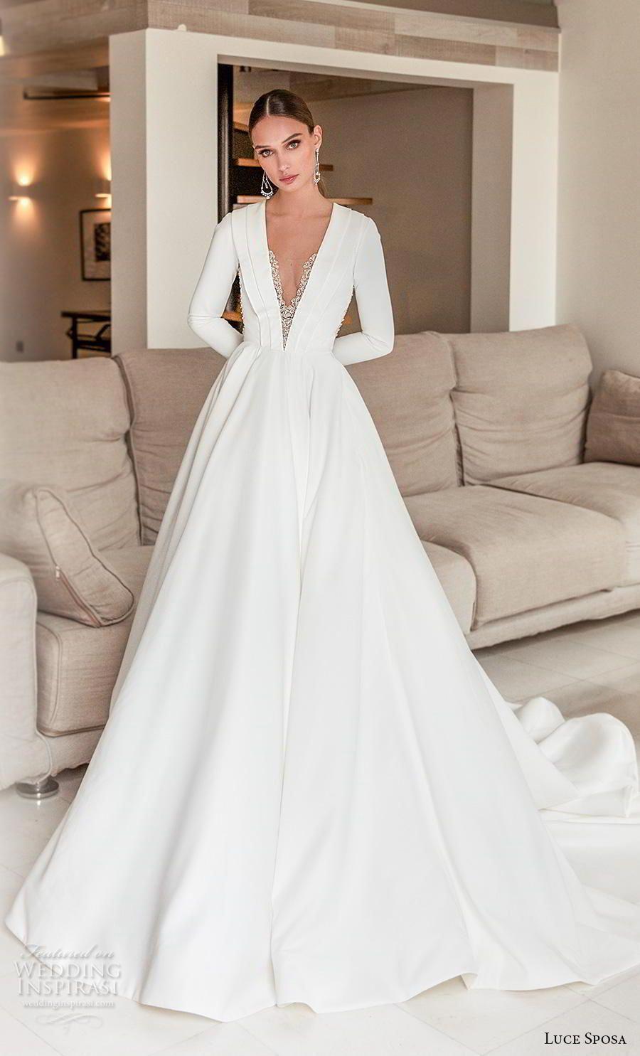 Luce Sposa 2020 Bridal Long Sleeves Deep V Neck Simple Minimalist Elegant Modern A Line Wedding Dress Keyho Wedding Dresses Bridal Dresses Wedding Dress Guide,Wedding Bridal Dresses Hd