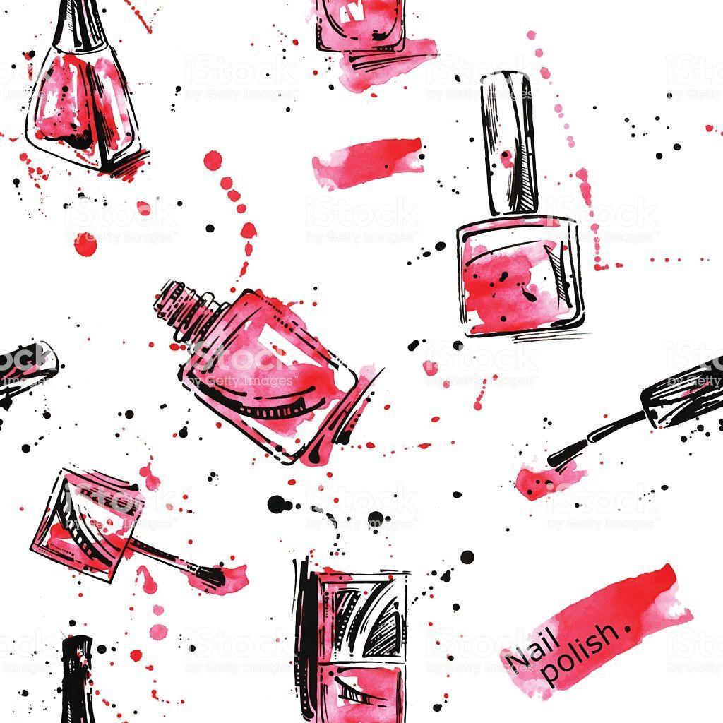 Watercolor seamless pattern with nail polish. Fashion