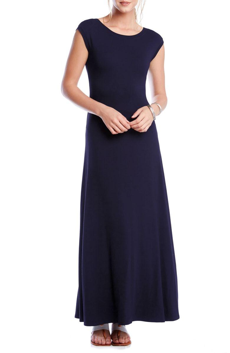 Karen Kane V Back A Line Maxi Dress Nordstrom Maxi Jersey Dress Nordstrom Dresses Maxi Dress With Sleeves [ 1196 x 780 Pixel ]