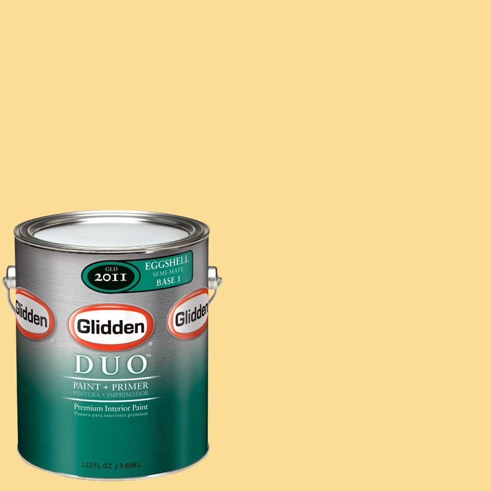 Glidden DUO 1-gal. #GLY08-01E Buttered Sweet Corn Eggshell Interior Paint with Primer