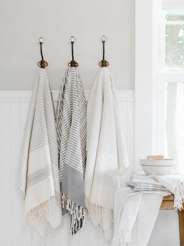 Black Striped Turkish Towel Traditional Bath Towels Traditional - Silver bath towels for small bathroom ideas