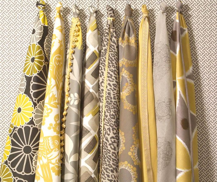 Kitchen Curtains Yellow And Gray: Calico Corners' Dreamy Yellow And Gray Fabric Collection
