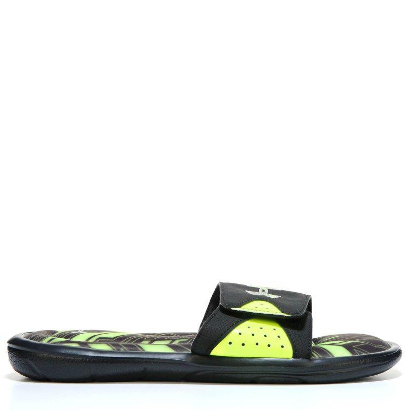 5c548002404f5 Under Armour Kids  Ignite Banshee II Slide Sandal Pre Grade School Sandals  (Black High Yellow Si) - 3.0 M