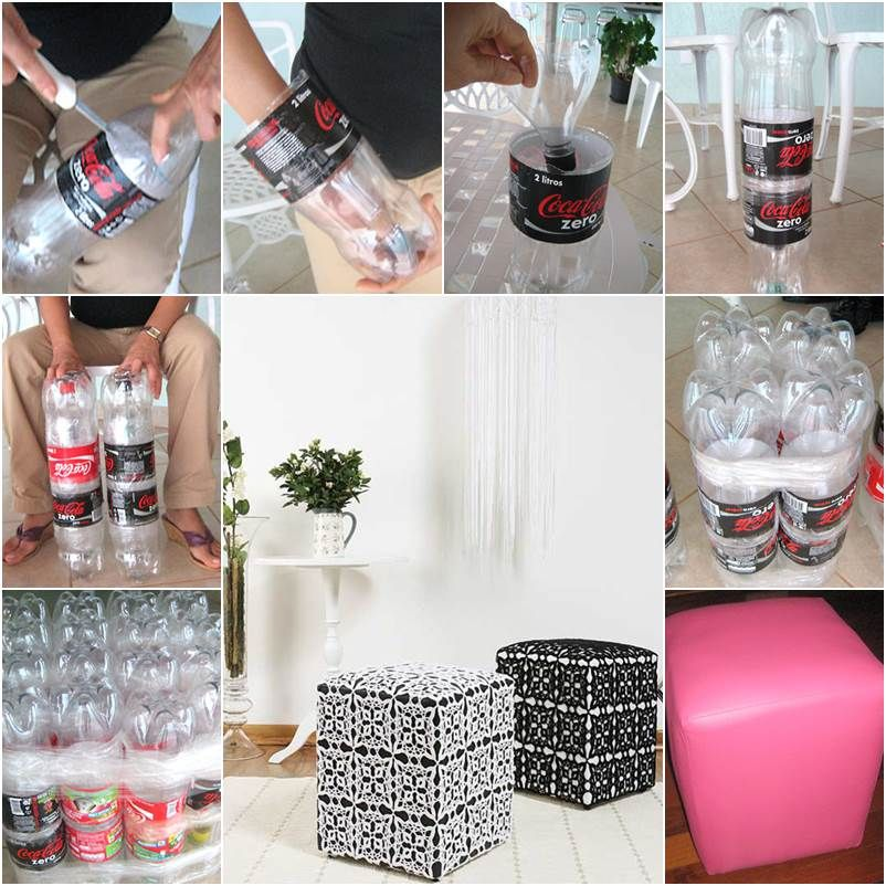 How to make a nice diy ottoman from plastic bottles diy for Crafts made from plastic bottles