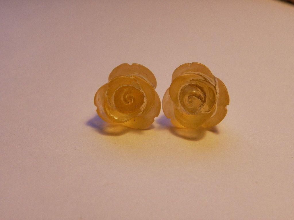 Dark Yellow Rose Stud Earrings     747 by ritascraftsandmore on Etsy