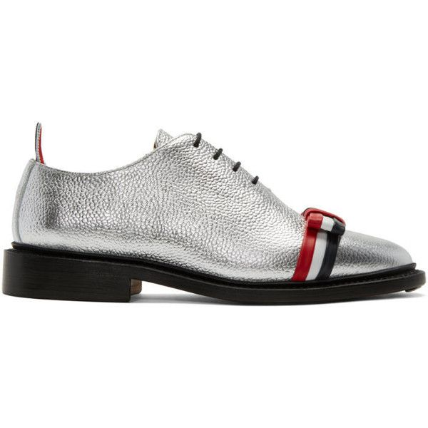 Thom Browne Silver Wholecut Bow Oxfords (4.545 RON) ❤ liked on Polyvore  featuring shoes