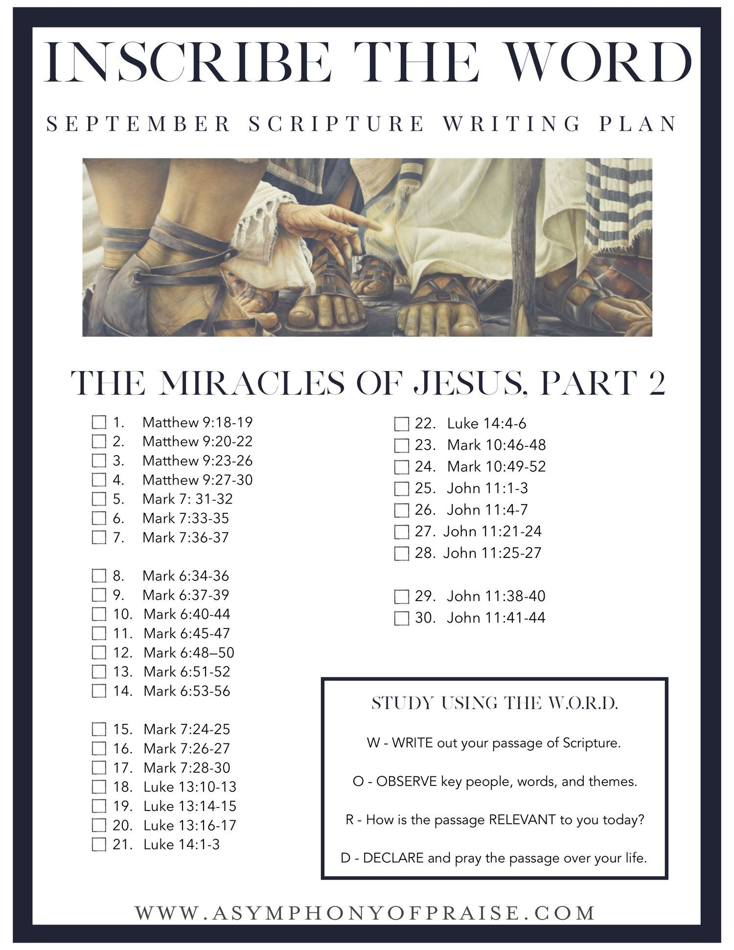 Inscribe the Word * September Scripture Writing Plan | Bible Study