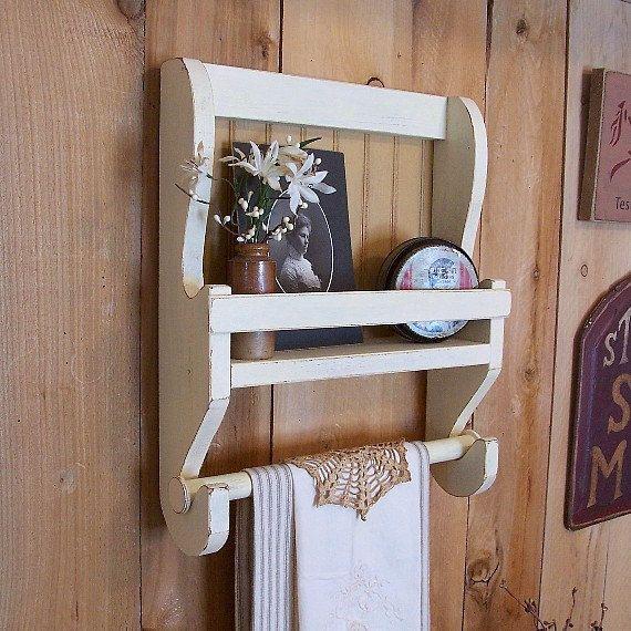 Shabby Chic Farmhouse Towel Shelf Handmade Wooden Kitchen Wall Shelf  Bathroom Storage / Color Choice