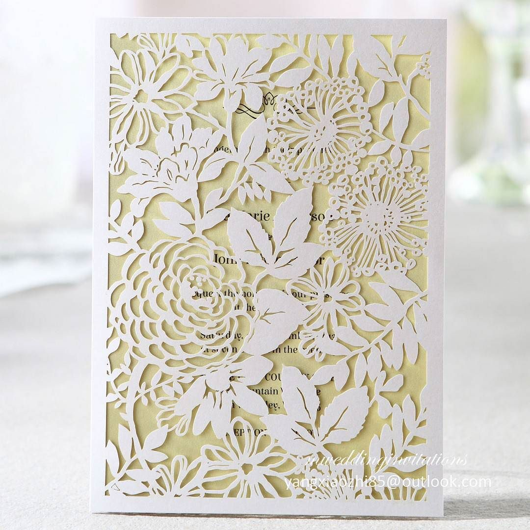 Rose Laser Cut Wedding Invitation Card By