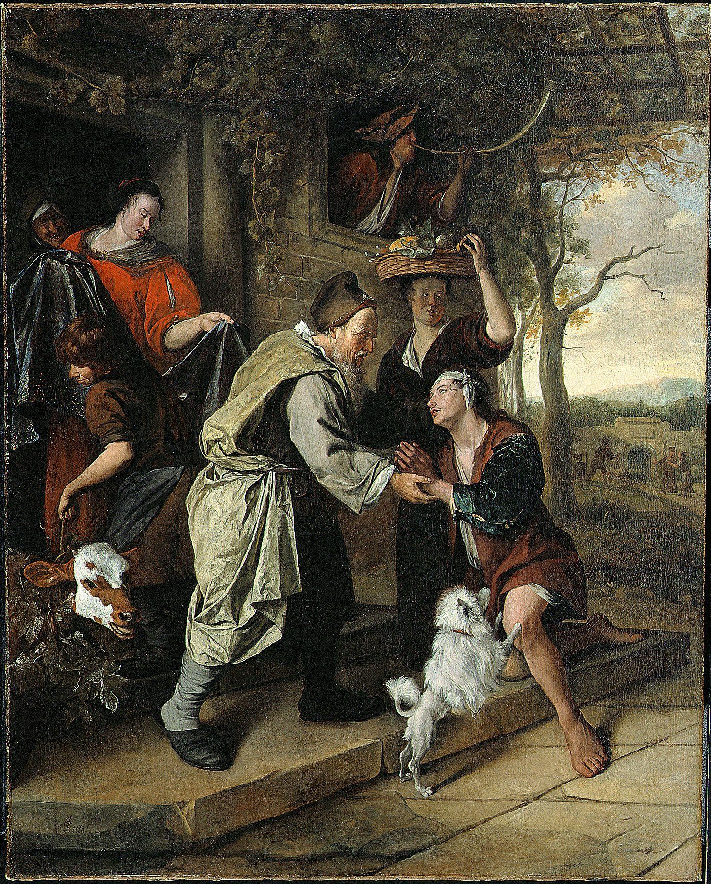 Jan Steen: de terugkeer van de verloren zoon. ca. 1668-1669. Montreal  Museum of Fine Arts.