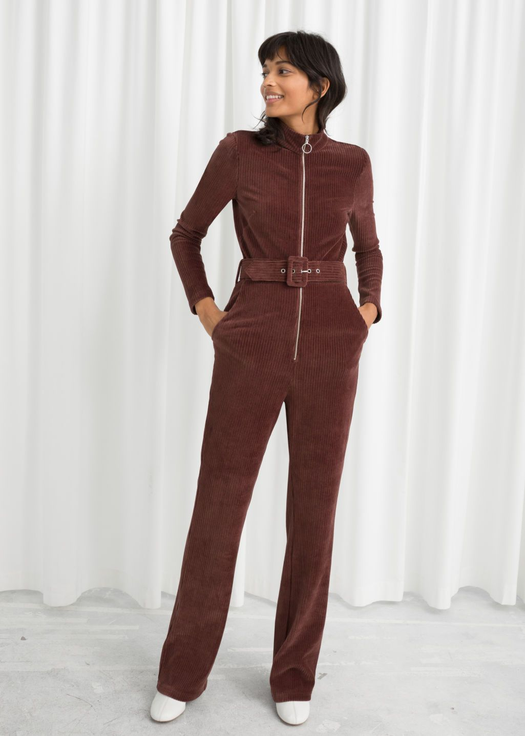 231f0bcaaed Belted Corduroy Jumpsuit - Burgundy - Jumpsuits   Playsuits -   Other  Stories