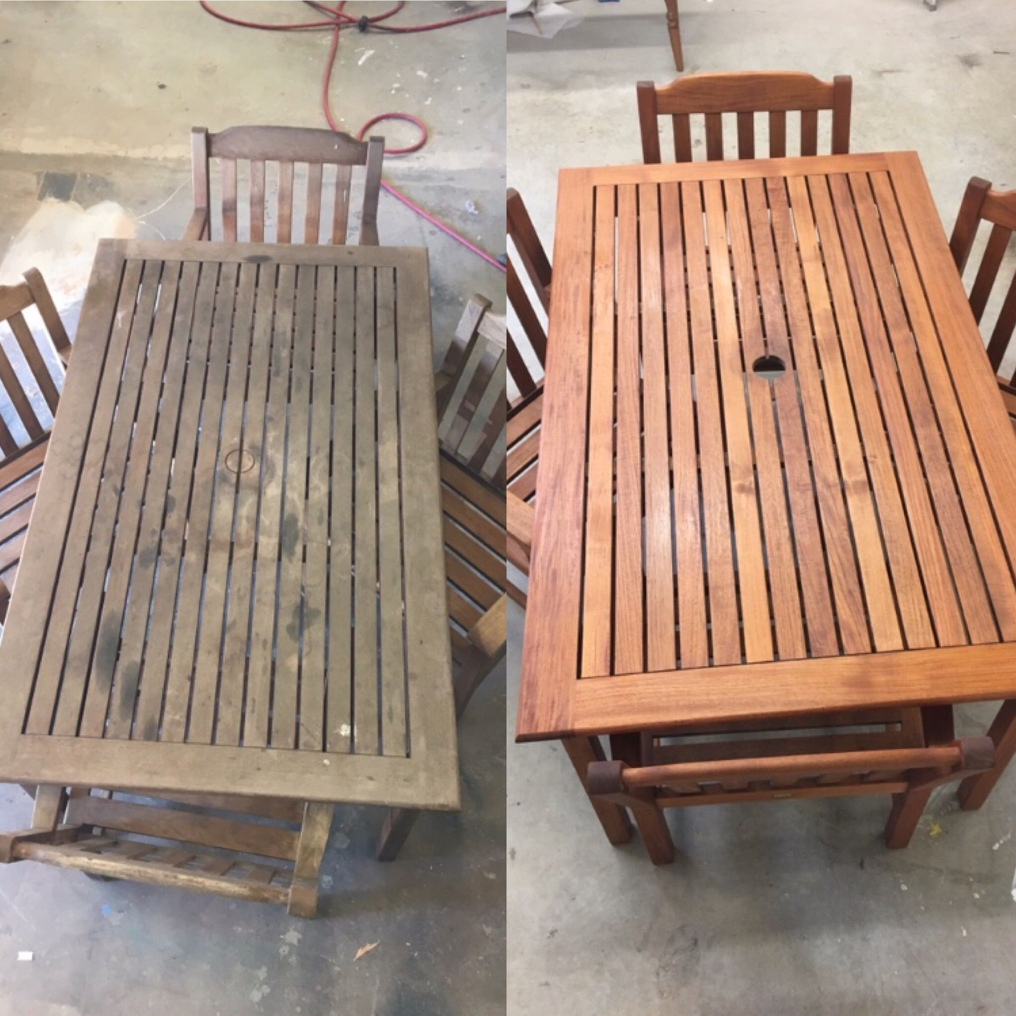 Wow Check Out The Transformation Of This Teak Outdoor Set These Pieces Are Full Of Life Again S Teak Wood Furniture Wood Furniture Quality Outdoor Furniture