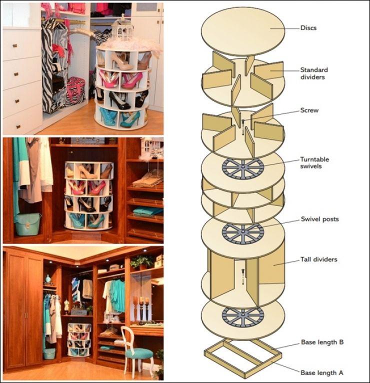 voici comment fabriquer un meuble de rangement tourniquet pour vos chaussures manualidades. Black Bedroom Furniture Sets. Home Design Ideas