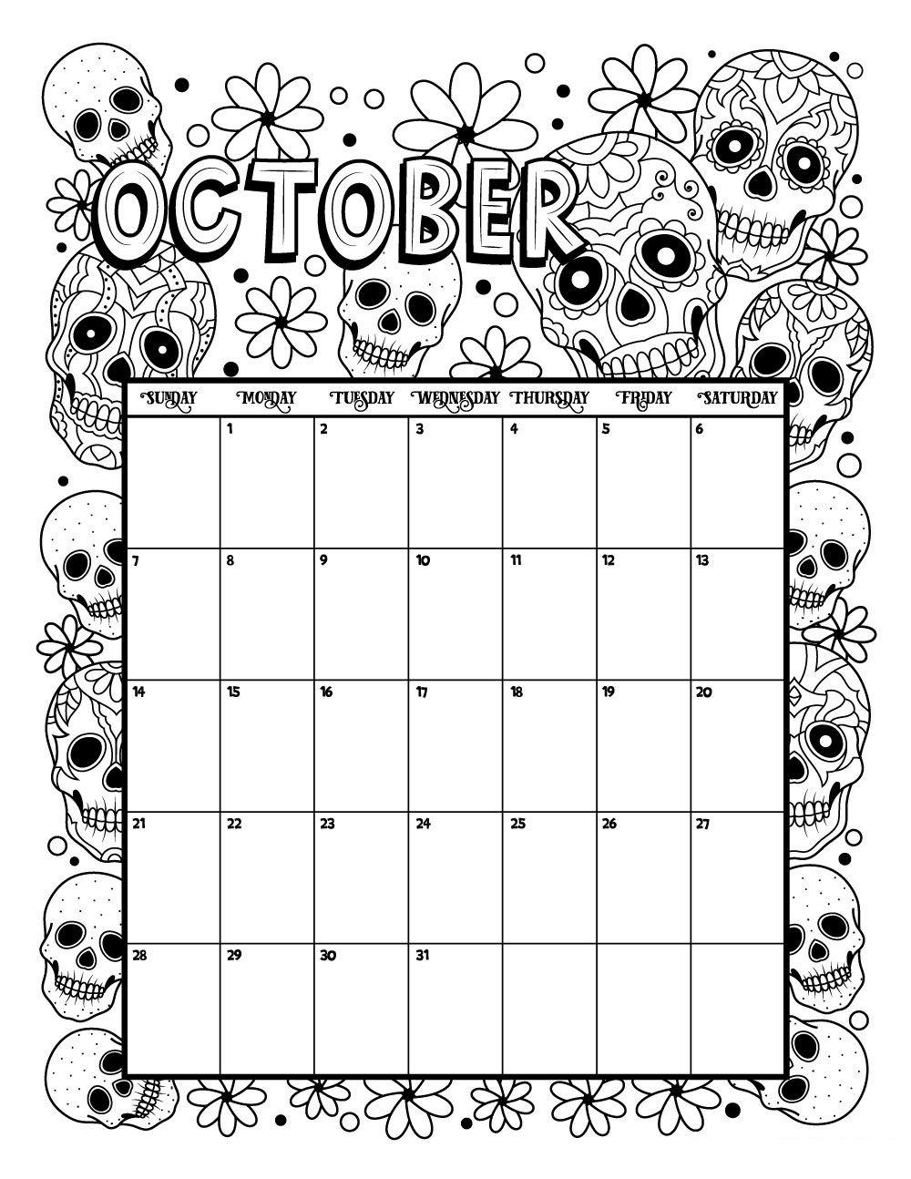 October 2018 Calendar Template With Holidays- For USA, UK