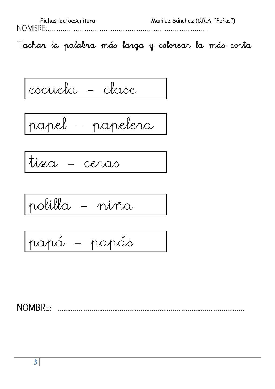 Fichas Lectoescritura Mariluz Sanchez C R A Penas 3