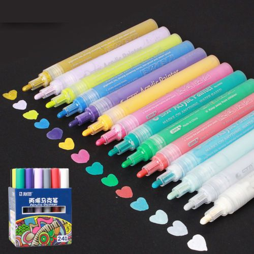 Sta 12 24 Colors Acrylic Marker Pen Highlighter Waterproof Diy