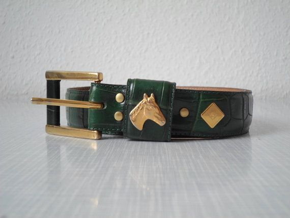 Vintage crocodile leather belt with horse head gold / green handmade in Austria