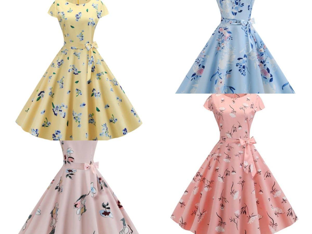 Women Vintage Casual Summer Elegant Vestidos Flower Print Plus Size Dress Plus Size Dress Dresses Vintage Dresses [ 900 x 1200 Pixel ]