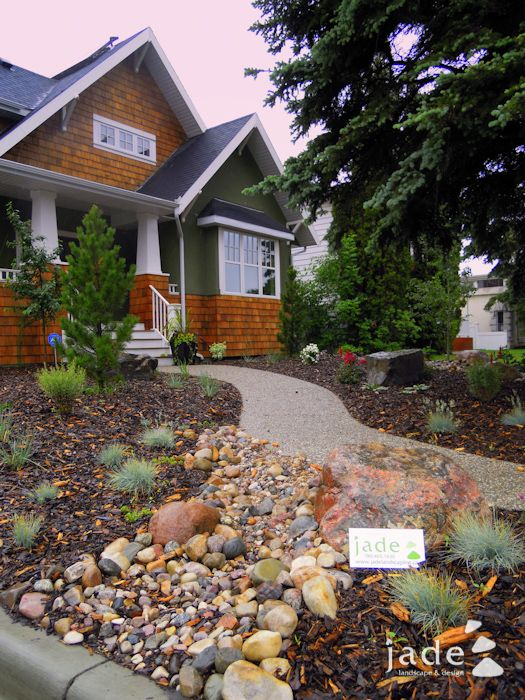 beautiful low maintenance front yard bark, rocks, bushes ... on No Mow Backyard Ideas  id=98032