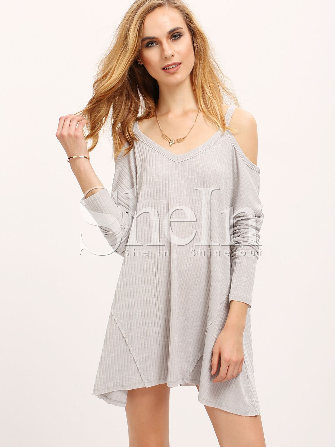 Grey+Off+The+Shoulder+Loose+Rib+Dress+16.99