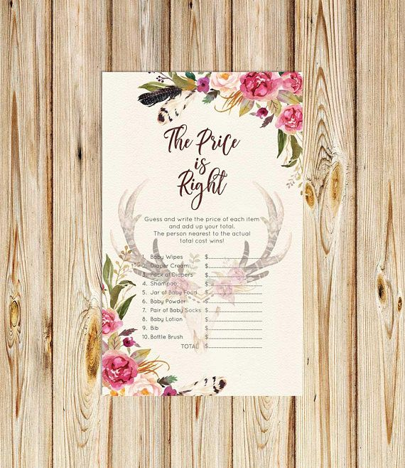 Price is Right Baby Shower Games Antlers Floral Skull