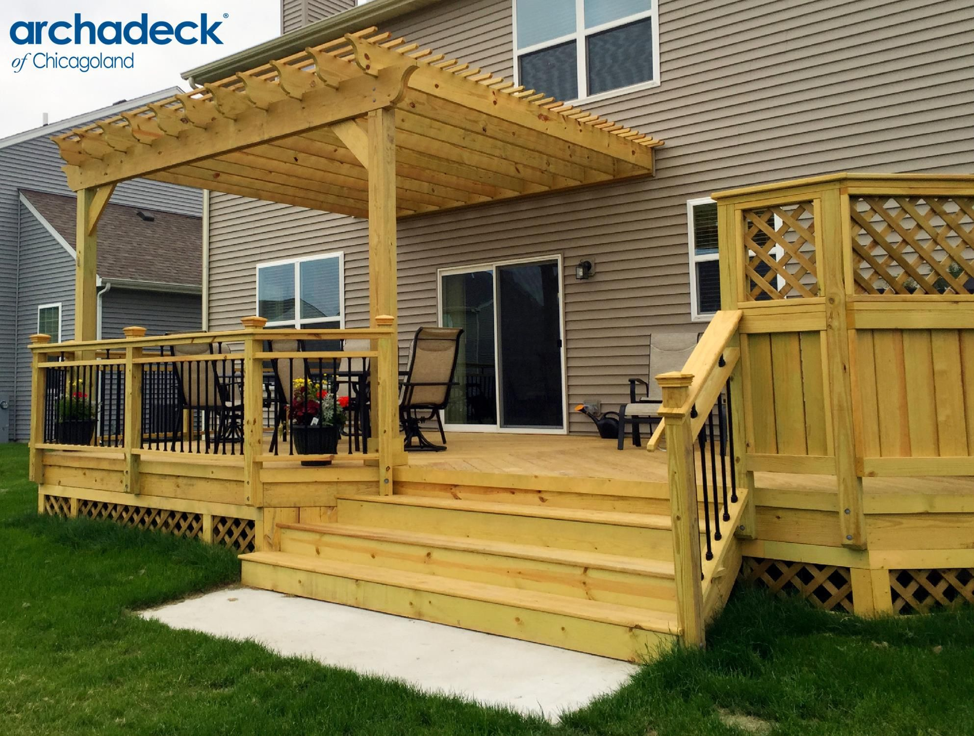 Wood deck with pergola by chicago suburb deck builder for Backyard decks