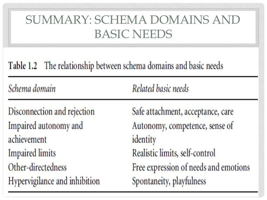 Schema Domains Amp Basic Needs