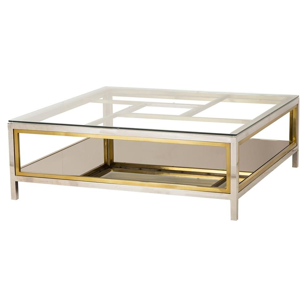 Phila Regency Glass Silver Gold Coffee Table Kathy Kuo Home In