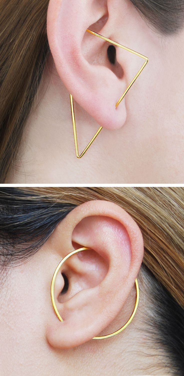 Gold Triangle Ear Climber, Triangle Earrings, Edgy Earrings, Designer Earring, Modern Earrings, Ear Crawler, Gold Earrings, Otis Jaxon, Gift