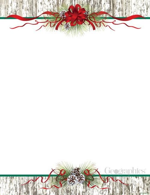 Pinecones  Ribbon Christmas Letterhead, 85 Pinecone, Stationary - christmas letter template word free