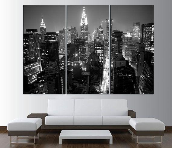 New York City Manhattan Skyline Wall Art Canvas Print Black And White Manhattan Skyline Canvas Print New City Wall Art New York Theme Wall Art Canvas Prints