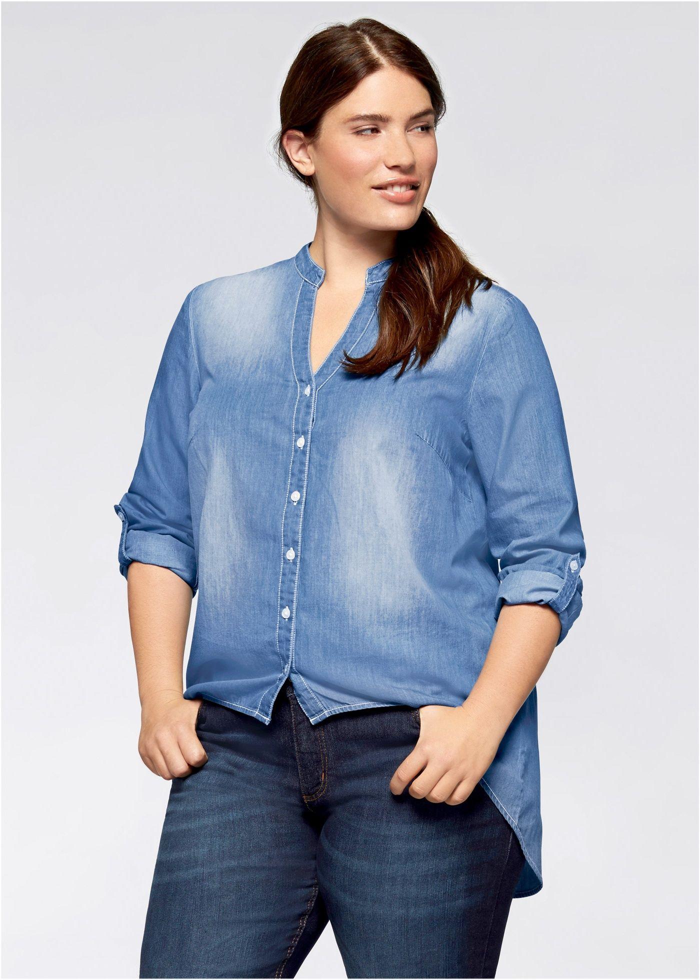 2181cd8359 Camisa jeans gola de padre Azul delavé usado - Plus Size - bonprix.com.