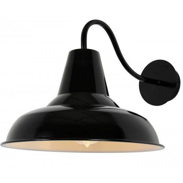 Traditional black shade outdoor lamp 50 enamel lampshades buy the tees outdoor spun cowl fisherman style wall light black online from litecraft free standard uk delivery on all items mozeypictures Images