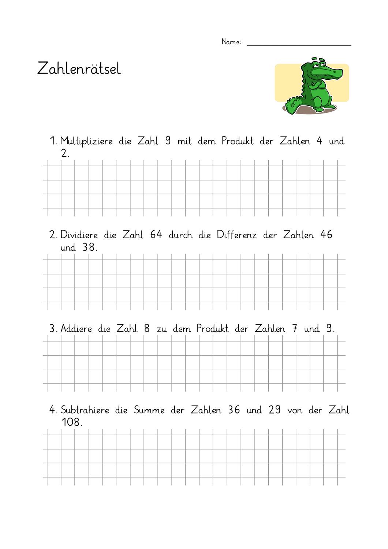 Zahlenrätsel ab Klasse 200 20 Begriffe Summe, Differenz, Produkt ...