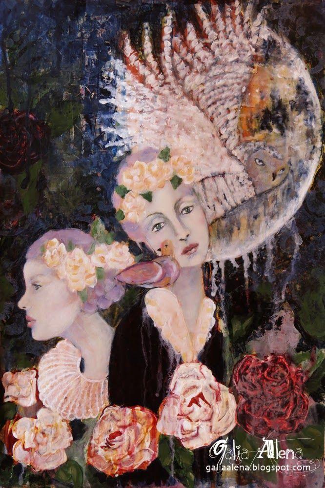 The Night Dreams of You, Galia Alena, mixed media painting