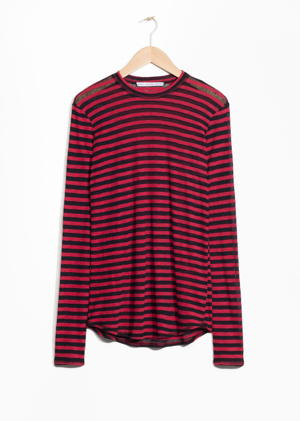 827d5fcc65757 Slightly Sheer Red Black striped top from   Other Stories