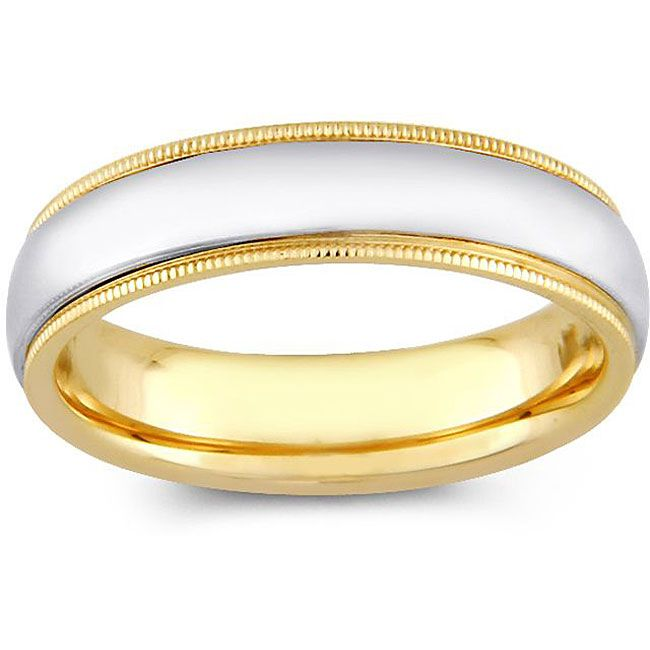 14k Two Tone Gold Mens Milligrain Comfort Fit Wedding Band 5 Mm