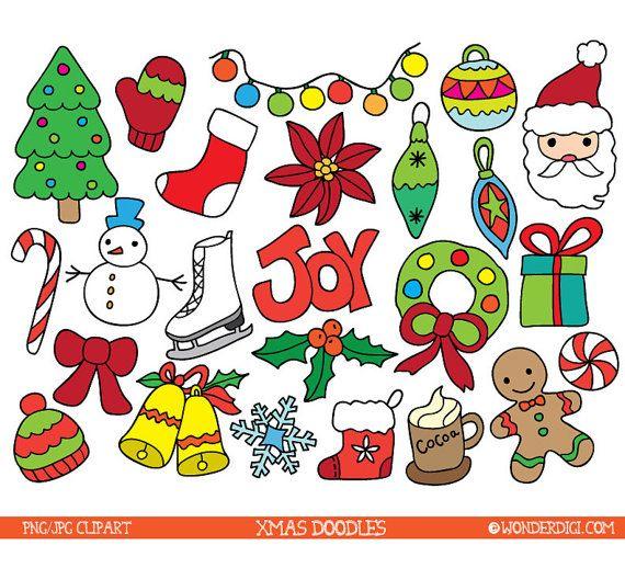 Vente 50 De Rabais Sur Le Clipart De Noel Doodles De Noel Etsy Xmas Clip Art Christmas Doodles Xmas Drawing
