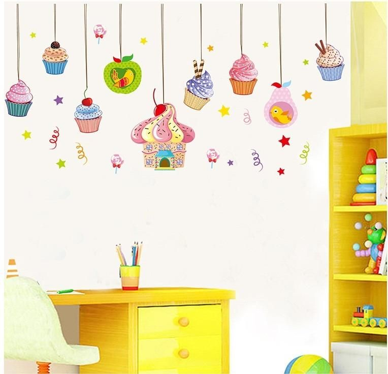 Cheap vinyl decal buy quality wall sticker directly from china decoration home suppliers candy wall stickers delicious cake decor ice cream wallpaper