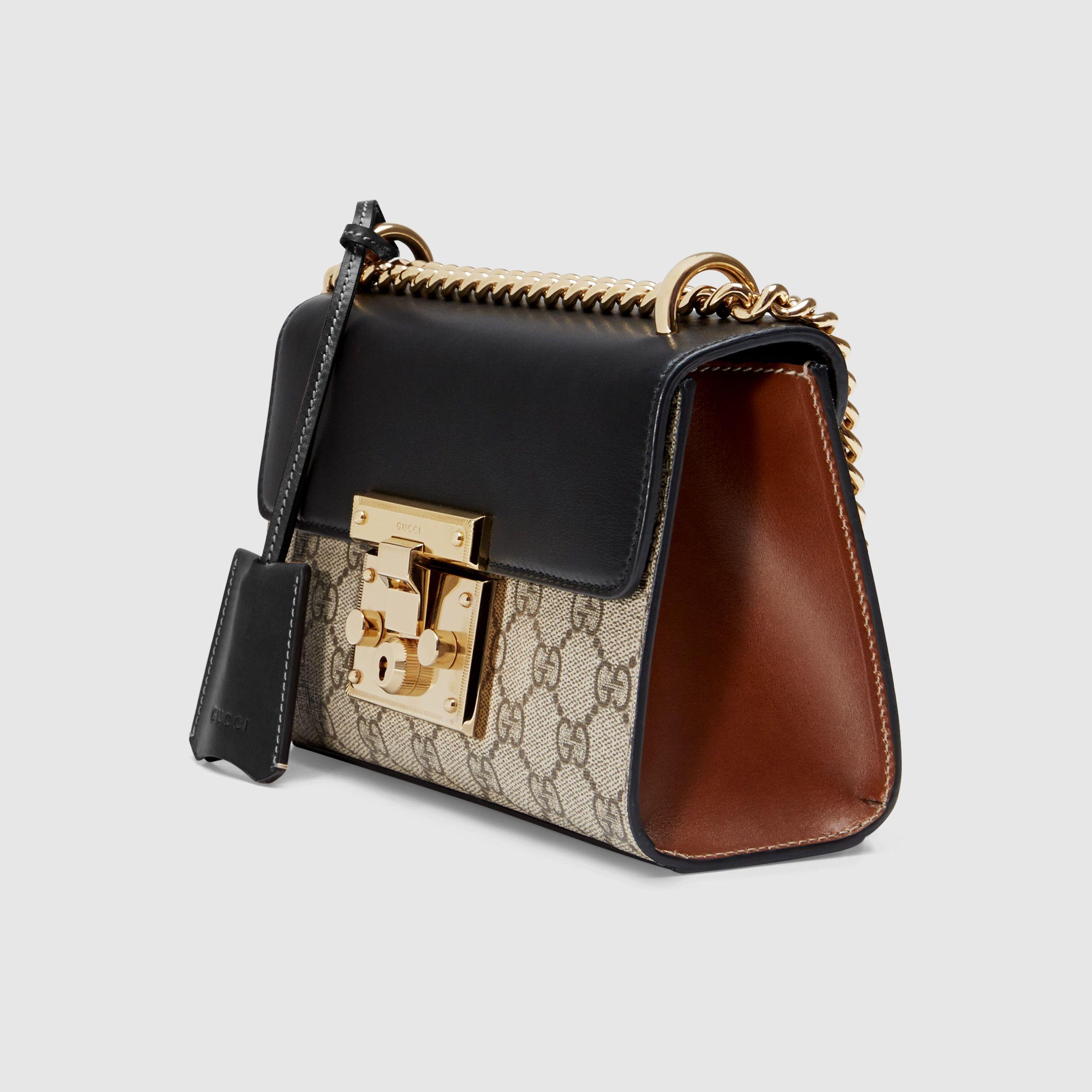 34adb25db6 Padlock small GG shoulder bag in Beige ebony GG Supreme canvas